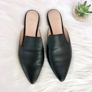 Jcrew Pointed-toe Leather Slides